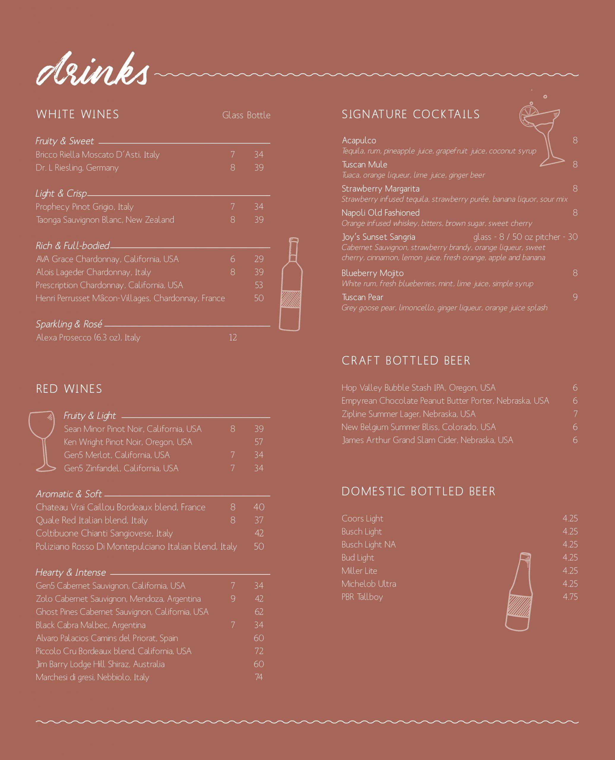 joy's drink menu